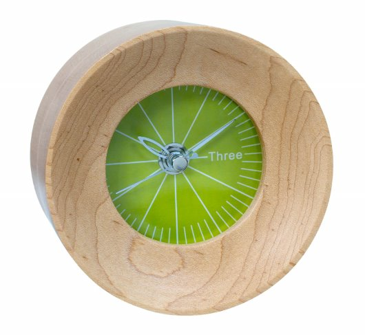 wild spirit wood clock with green face (RT)